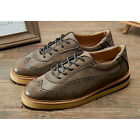 Vintage Mens Carved Cowhide Leather Lace Up Perforated Round Toe Brogue Shoes