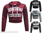 LADIES WOMENS HANGOVER PRINT HOODIE  HOODY SWEATSHIRT CROP TOP