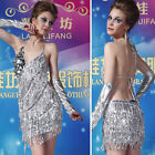 Hot Lady Cocktail Party Latin Dance Ballroom&Salsa Club Sequin Halter Dress LD20