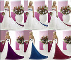 New White Satin Wedding dress Gorgeous Bridal Gown Stock Size 6 8 10 12 14 16 18