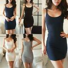 Trendy Womens Sleeveless Cotton Ribbed Tank Top Camisole Vest Mini Bodycon Dress