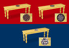 FC0 CARD GAME POKER THEMED SOLID WOOD FARMHOUSE DINING BENCH SEAT NATURAL FINISH