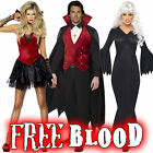 FREE BLOOD & Vampire Fancy Dress Costume - Halloween Gothic Outfit Mens / Ladies