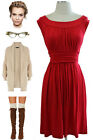 RED Round Neck GATHERED DETAILING Casual Chic GRECIAN Goddess Day Dress