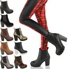 WOMENS LADIES MID HIGH BLOCK HEEL PLATFORM CHELSEA CASUAL ANKLE BOOTS SHOES SIZE