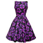 Lady Vintage Vampire Violet Poppy Dress Rockabilly Pin Up Retro Swing Floral