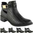 LADIES WOMENS CUT OUT FLAT CHELSEA ANKLE BOOTS BLOCK HEEL GOLD BUCKLE SHOES SIZE