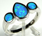 Blue Fire Opal Inlay Solid 925 Sterling Silver Band Ring Size 6,7,8,9