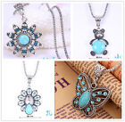 Blue Crystal Hollow Turquoise Butterfly panda Tibetan Silver Pendant Necklace