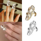 Women's Punk Crystal Rhinestone Wave Fake Nail Art Knuckle Band Finger Tip Ring