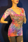WOMENS TOP tee V neck sublimation winged heart S M L