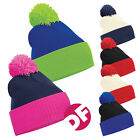 Two-Tone Beanie Duo Hat Snowboarding/Ski/Skate Knitted Slouch Winter Bobble Hat