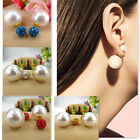 Celebrity Runway Double Pearl Beads or Crystal Ball Plug Earrings Ear Studs Pin
