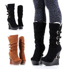 Winter Faux Suede/Fur Interior Platforms Wedges Zip Womens Mid-Calf Boots Shoes