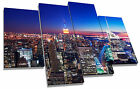 New York City Manhattan Skyline Blue Canvas Wall Art Picture Multi 4 Panel Split