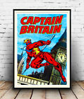 Captain Britain : Vintage comic book cover poster reproduction.