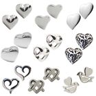 Pair of HEART STUD EARRINGS 925 Sterling SILVER 9 Designs : Ladies Valentine