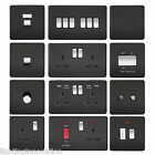 SCREWLESS FLATPLATE LIGHT SWITCHES & PLUG SOCKETS MATT BLACK CHROME SWITCH SLIM