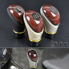 Universal 5 Speed Wood PU Leather Manual Car Motor Gear Shift Lever Shifter Knob