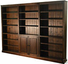 "Solid Pine Bookcase, Lacquered 7ft x 9ft 10""  Library Shelving with Cupboards"