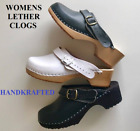 Ladys/Womens Leather Clogs Sandals Wood Sole Flip Flop Shoes Size UK 4 5 6 7 8