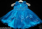 Teal Blue Christening Flower Girl Bridesmaid Pageant  Wedding Party 0-24m Easter