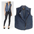 Kardashian Kollection Blue  ‎Epaulette Zip  Denim Moto Vest RRP $68