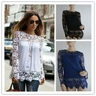 Trendy Womens Sheer Sleeve Embroidery Lace Crochet Chiffon T-Shirt Top Blouse LJ