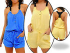 WOMENS ROMPER SUNSUIT Jumper TANK Racerback scoopneck lined SHORTS SET S M L