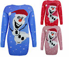 LADIES KNITTED OLAF FROZEN CHRISTMAS XMAS JUMPER SWEATER WOMENS LONG DRESS 8-14