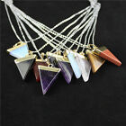 Amethyst Quartz Crystal Pendants Natural Triangle Stones Necklace Gold Findings