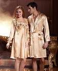 Summer Golden Silk Blend 2PCs Woman/Man's Sleepwear/Pajama Sets M/L/XL/2XL/3XL