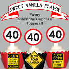 40th Birthday Party Milestone EDIBLE wafer 15 Cupcake Toppers PRECUT cup cake