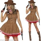 Ladies Fever Sexy Cowgirl Cowboy & Indians Wild West Fancy Dress Costume Outfit