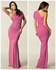 ♥ HONOR GOLD ♥ONE SHOULDER CLUB PARTY PROM EVENING LONG GOWN MAXI FISHTAIL DRESS