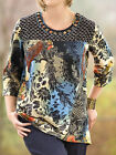 ULLA POPKEN Stretch Cotton BLACK MEDIA MIXED Tee Tunic Top Size 16/18 LAST ONE