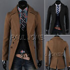 Mens Double Breasted Trench Long Coat Wool Slim Overcoat Outerwear Winter Jacket