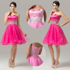 Short Mini Crystal Bridesmaid prom Party Evening gown Quinceanera Cocktail Dress