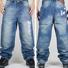 Mens Hip-Hop Jeans Denim Ecko Relaxed Baggy Loose Streetwear HipHop #JP30