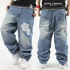 Mens Hip-Hop Jeans Denim Ecko Relaxed Baggy Loose Streetwear HipHop #JP31