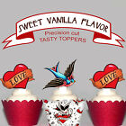 Valentines Day Rockabilly Party EDIBLE wafer Cupcake Toppers PRECUT cup cake