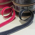 Denim Style Ribbon - 4m x 15mm Red OR Navy - Ideal for Giftwrapping, Sewing