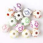 200/1000pcs 112594 Print Colors Cross Round Ball Charms Acrylic Spacer Beads 8mm