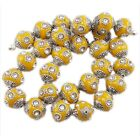 10/50pcs New Fashion 7 Clear Rhinestones Faux Indonesia Charms Loose Beads 15mm