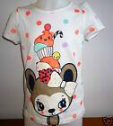 Girl's Short Sleeved T-Shirt- White/Spotty-Ages 4-6 Years & 6-8 Years- NEW