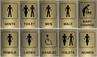 Gold Aluminium Toilet Sign 100x150mm Ladies, Women, Baby Change, Men, Gents