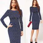NEW Vintage 50s 60s Polka Dots Bodycon Formal Party Ball Dress S~2XL Blue Purple