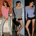 Women's Sexy Off Shoulder Striped Long Sleeve Clubwear T-Shirt top Blouse ItS7