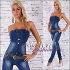 NEW HOT WOMENS JEANS OVERALL + BELT 6 8 10 12 14 STRAPLESS JUMPSUIT PANTS outfit
