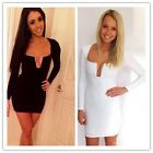 Hot Women Solid Sexy Dress Long Sleeve Casual Deep U-neck Cocktail Club Dress LJ